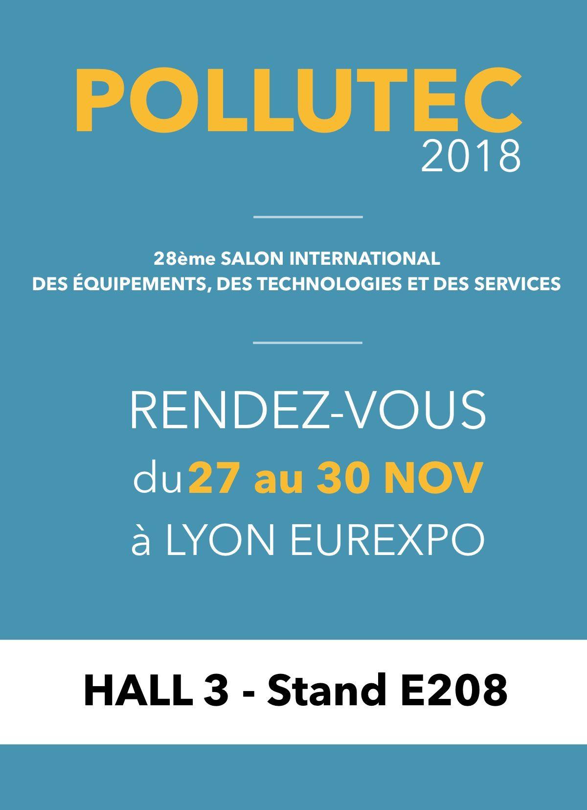Retrouvez-nous à POLLUTEC du 27 au 30 Novembre 2018